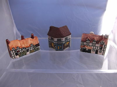 (866) 3 Miniature China Cottages # 2 Hand Painted 'H' + Wade Why Antiques Shop