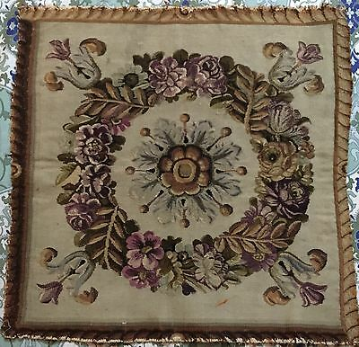 """ANTIQUE 18C AUBUSSON FRENCH HAND WOVEN SILK TAPESTRY PANEL 24""""By 24"""""""