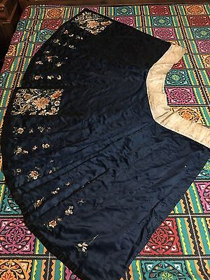 Antique Chinese Embroidered Silk Dark Blue Skirt Qing Dynasty