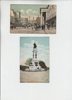 Angleterre Lot 2 Cpa Plymouth Theatre Royal Animee Armada Statue Post Cards