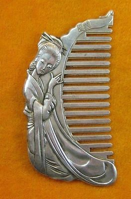 Asian Old Collectibles Decorated Wonderful Handwork Tibet - Silver fairy Comb