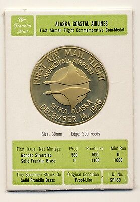 Franklin Mint Alaska Coastal Airlines Coin 1966 Sealed In Plastic Brass Coin