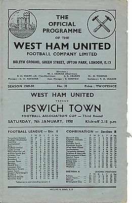 West Ham v Ipswich (FA Cup) 1949/50 Football Programme
