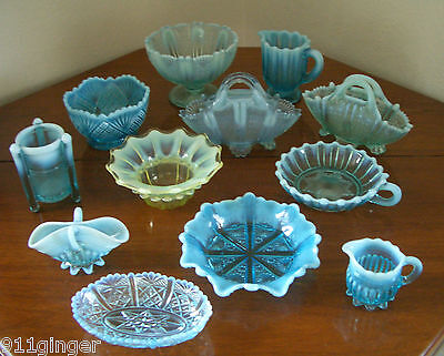 VASELINE GLASS Superb Collection of 12 Pieces (Mostly Davidson)