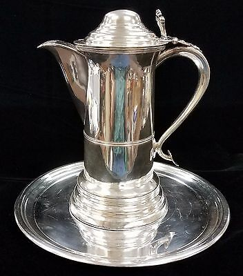 """13"""" Silver Plate 64 oz Water Pitcher w/14"""" tray!! Great for GoT or  LOTR party!"""