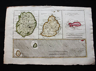 1778 BONNE - Original map of ASIA, INDIA, REUNION Is. MAURITIUS, RODRIGUES Is.