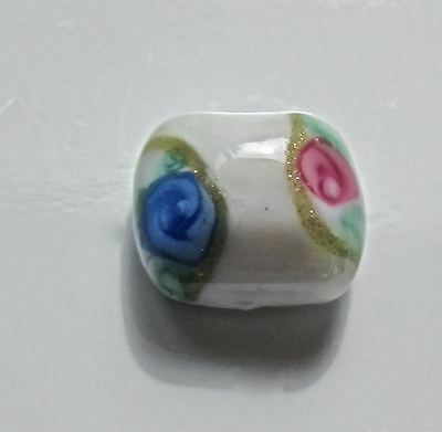 Antique Diminutive White Glass Button  With Gilding & Roses - Metal Shank