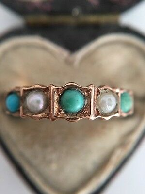 Antique Victorian Ornate Turquoise And Pearl Yellow Gold Five Stone Ring