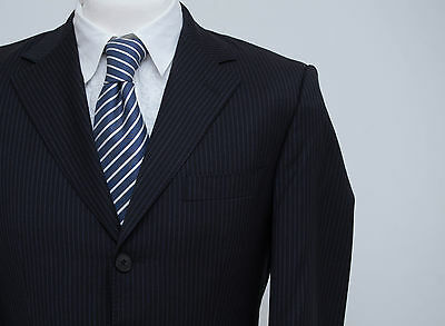 Mens Hugo Boss Suit Jacket Cashmere Wool Navy Fitted Size 38 In Exc