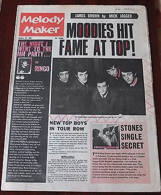 Melody Maker January 23 1965 Moody Blues Beatles Stones Guthrie James Brown Adam
