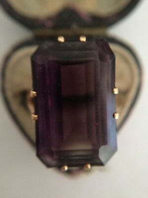 Art Deco Antique Yellow Gold Extra Large Size Amethyst Cocktail Ring