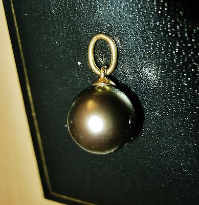Hallmarked 750 18Ct Gold Genuine Tahitian Pearl Pendant Qvc *amazing* New In Box