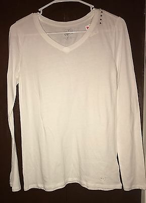 Justice Girl's White Long Sleeve V Neck Tee Size 16 NWT
