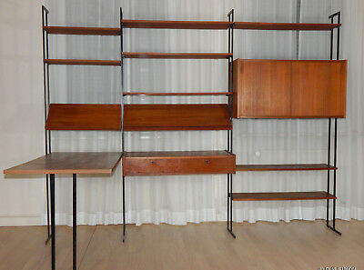 mid century teak wall wardrobe wandgarderobe hakenleiste hutablage eur 59 00 picclick de. Black Bedroom Furniture Sets. Home Design Ideas