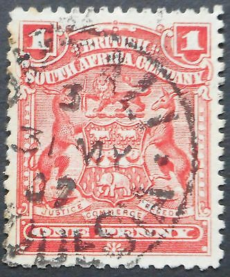 Rhodesia 1898 1d with UMTALI Code 3 Day Month postmark