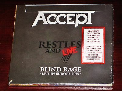 Accept: Restless And Live - Blind Rage Live In Europe 2 CD + DVD Set 2017 NB NEW