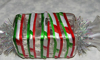 Candy Cane Red White Glitter Large Piece Candy Box Christmas Acrylic 8 Inches