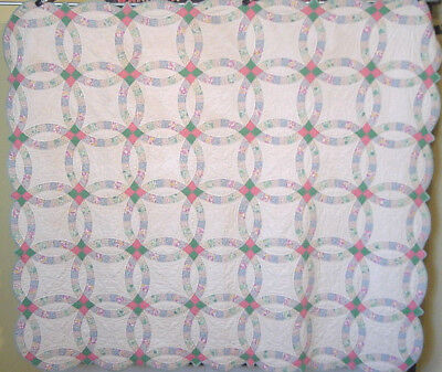 "ANTIQUE DOUBLE WEDDING RING QUILT HAND PIECED and HAND QUILTED 87"" by 75"""