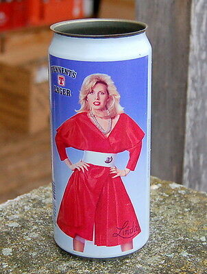 """lovely old """" LINDA """" Tennents Lager can : MB Metal Box factory sample"""
