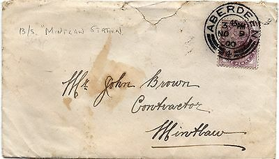 """cover from ABERDEEN to MINTLOW"""" 1900, b/s """"MINTLOW STATION"""""""