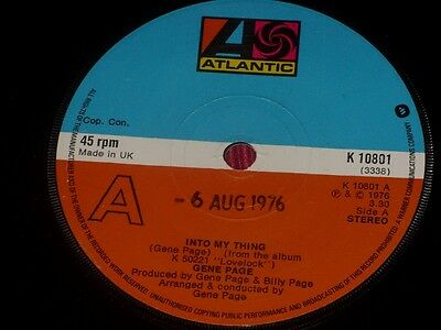 """Gene Page:  Into My Thing   UK   EX+  Promo   7"""""""