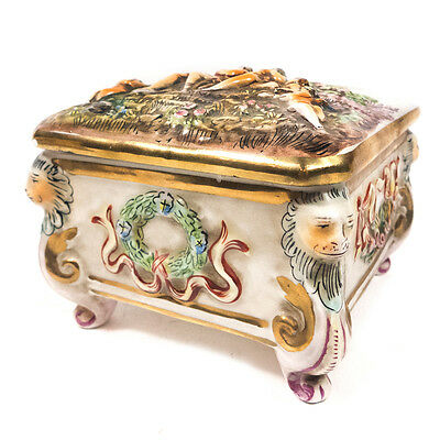 Antique Capodimonte Footed Box Jewelry Trinket Porcelain Box 3.25""