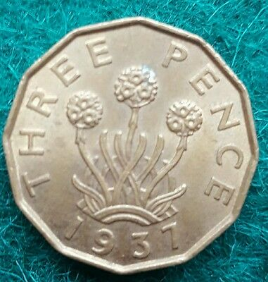 Scarce Date 1937 Brass Threepence, British Coin In A Fabulous Condition