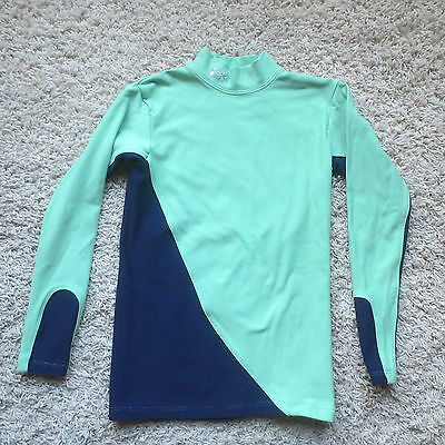 Under Armour Green/blue Cold Gear Long Sleeve Girls Shirt Sz Youth Large