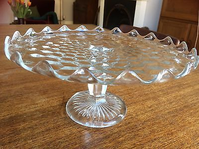 Vintage cut glass cake stand pastry scalloped edged serving dish plate pedestal