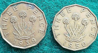 1939 & 1950 Brass Threepence, British Coins