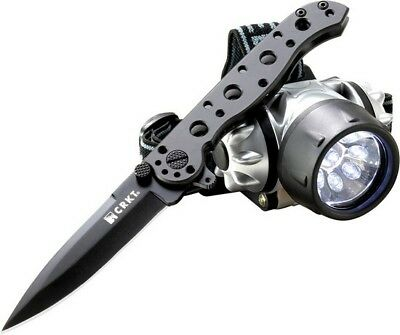 Columbia River CRKT 01KSHC Black M-16 Folding Blade Knife & LED Headlamp Combo