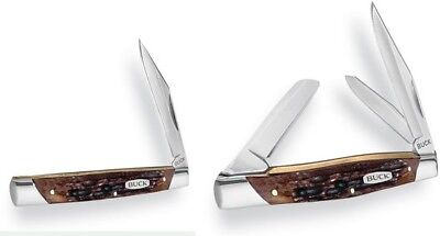 Buck Knives 3807 Trio Solo Combo Folding Knife Brown Bone Handle Folder