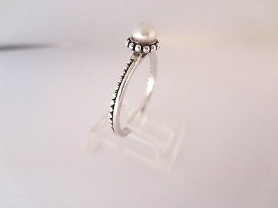 Silpada Pebbled Pearl Stack Ring Sterling Silver Size 9