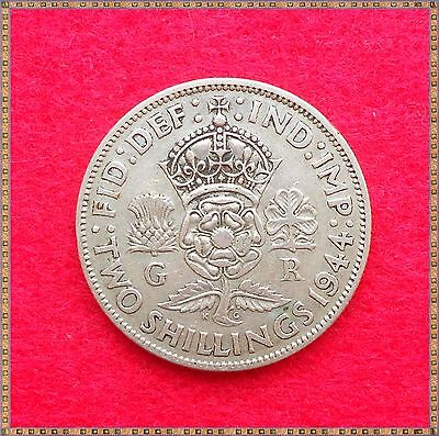 1944 George Vi Silver Florin/ Two Shillings (2/-) Coin.