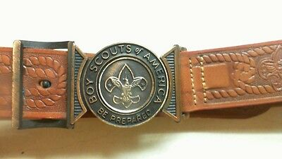 "Official Boy Scouts Steerhide Brown Leather Belt #522 Sz-28 ""Be Prepared"" R7T3"