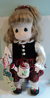 "Precious Moments GARDEN OF FRIENDS 1995 December Porcelain Faced Doll - ""HOLLY"""
