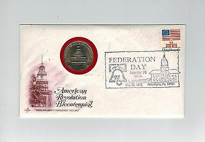 Usa 1976 Illustrated 1/2 Dollar Coin Cover Pnc American Revolution Bicentennial