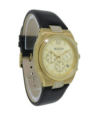 Bulova Crystals 97M107 Women's Round Gold Tone Chronograph Date Leather Watch