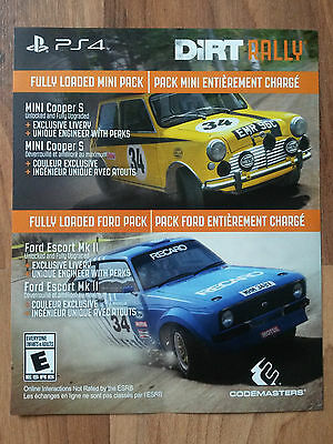 "Dirt Rally PS4 - Voucher card to access ""Fully Loaded Mini Pack and Ford Pack"""