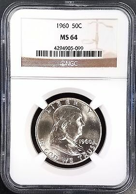 1960 Franklin Half Dollar certified MS 64 by NGC! Bright!