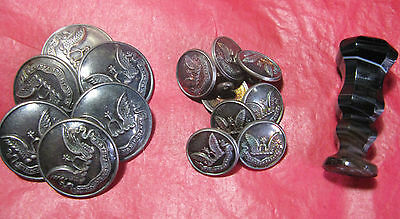 Rare Clan Johnstone Collection Of Livery Buttons & Agate Sealing Wax Seal