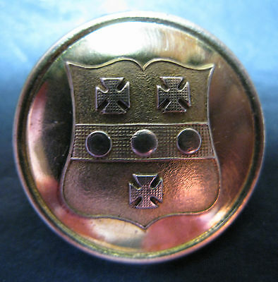 Large Antique Brass Livery Button - Fabulous Shield With Crosses And Dots