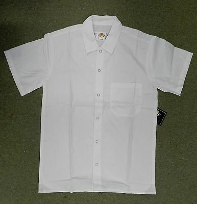Dickies White Snap Front Chef Server Restaurant Uniform SS Shirt New XL