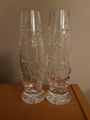 A Pair Of 7 Inch Tall Cut Glass Bud Vases