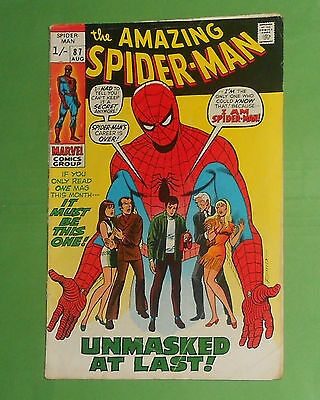 Amazing Spider-Man # 87 , Unmasked , 1970 .