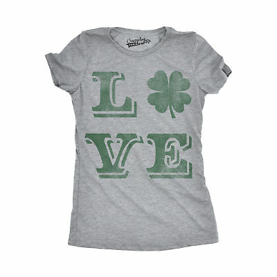 Womens LOVE Lucky Clover Vintage Cute Irish St Patricks Day T shirt For Ladies