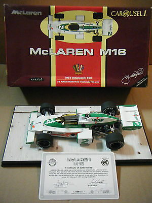 """""""McLAREN M16, 1975 INDY 500"""" Johnny Rutherford. 1:18 diecast. By Carousel 1."""