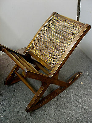 VINTAGE WOODEN ROCKING FOOT STOOL for GOUT PAIN RELIEF RATTAN & WOOD OTTOMAN