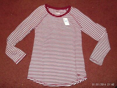justice-- girls --size 12-- maroon/white stripe--long sleeve  top - nwt