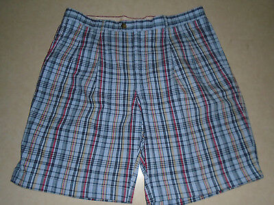 Cutter & Buck Golf Mens Light Blue Colorful Plaid Casual Golfing Shorts Size 38